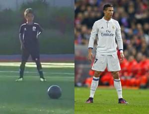 Syn Cristiano Ronaldo strzela wolne, jak ojciec!